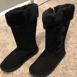 Little girls black furry winter boots, sz 12